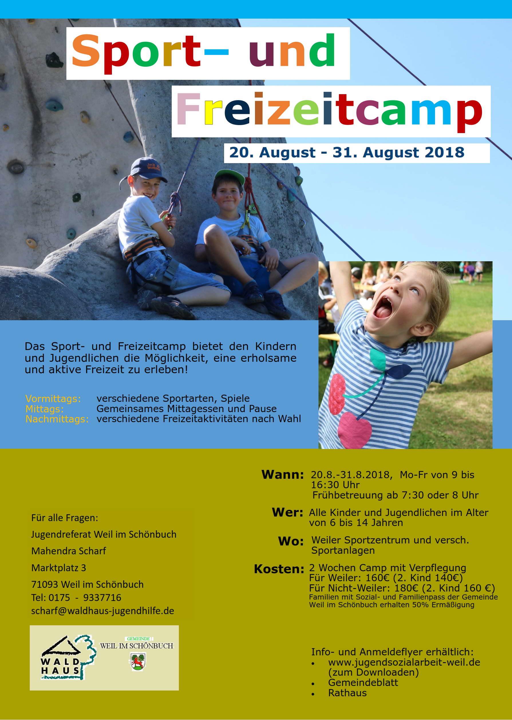 Plakat Sport- und Freizeitcamp 2018