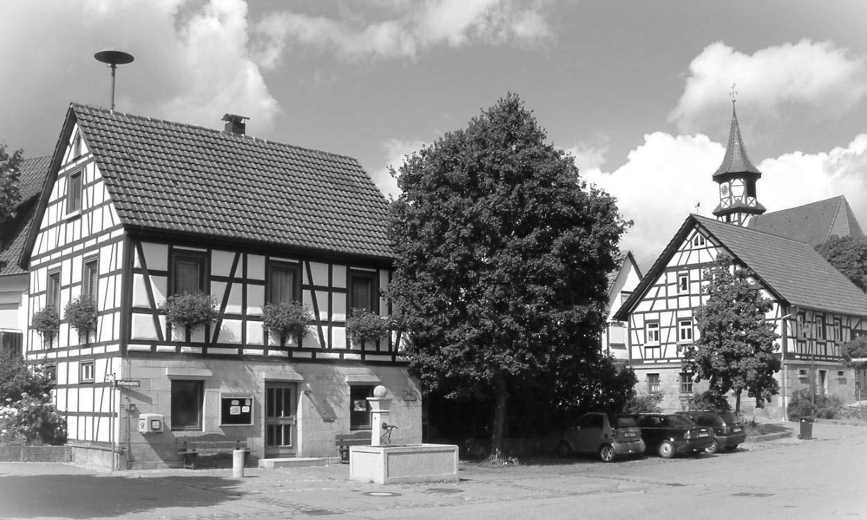 Ansicht Rathaus Breitenstein in Schwarz-Weiss