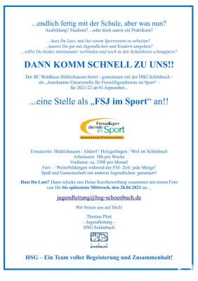FSJ Stelle bei der HSG Schönbuch