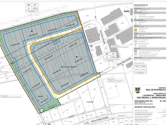 Entwurf des Bebauungsplans für die 2. Erweiterung des Gewerbegebiets